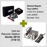Omnia Repair Tool (ORT) JTAG Pro Edition con eMMC Booster Tool + Estación de soldadura de aire caliente Accta 301A (110 V)