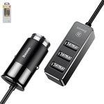 Автомобільний зарядний пристрій Baseus F629, 12 В, (USB-вихід 5В 2,4А), (3 USB виходи 5В 3,1А), чорне, #CCTON-01