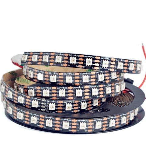 Світлодіодна стрічка RGB SMD5050, SK9822 чорна, з управлінням, IP20, 5 В, 60 діодів м, 1 м